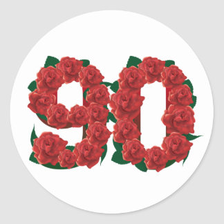 Pegatina Redonda Número rosas rojos de 90 o 90.os cumpleaños