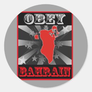 Pegatina Redonda Obedezca Bahrein