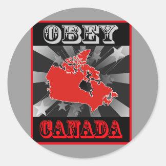 Pegatina Redonda Obedezca Canadá