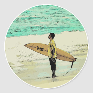 Pegatina Redonda Observación de la persona que practica surf