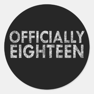 Pegatina Redonda Oficialmente dieciocho