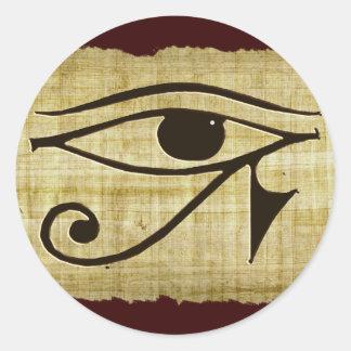 Pegatina Redonda OJO de WADJET DE HORUS en los regalos del papiro