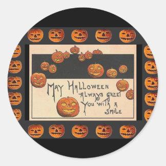 Pegatina Redonda o'Lanterns sonrientes de Halloween Jack del