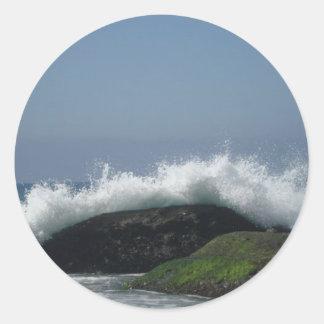 Pegatina Redonda Olas oceánicas