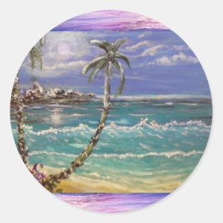 Pegatina Redonda onda de la playa, palmeras