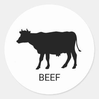 Pegatina Redonda Opción de la comida del boda de la carne de vaca