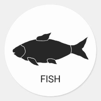 Pegatina Redonda Opción de la comida del boda de los pescados