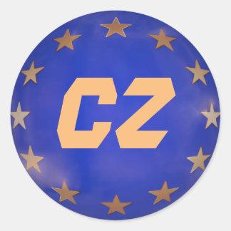 Pegatina Redonda Ornamento del navidad de la unión europea de la