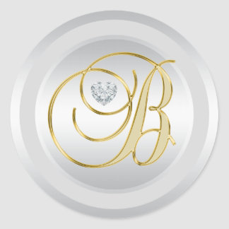 Pegatina Redonda Oro de plata elegante único 'B inicial con