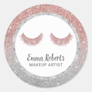Pegatina Redonda Oro del artista de maquillaje de los latigazos y