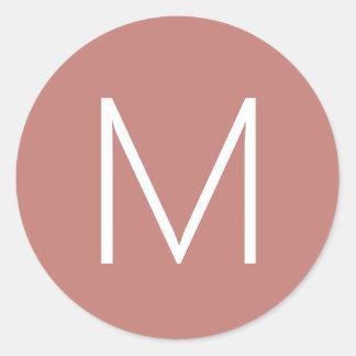 Pegatina Redonda Oro subió inicial simple del monograma