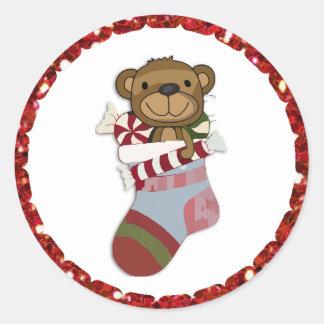 Pegatina Redonda Oso del navidad en pegatinas de la media
