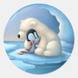 Pegatina Redonda Oso polar y pingüino