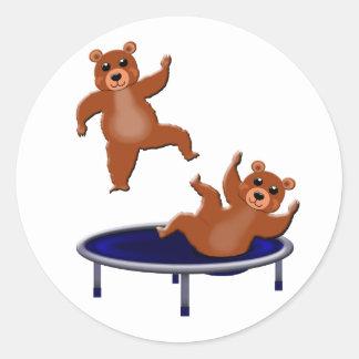 Pegatina Redonda osos trampolining