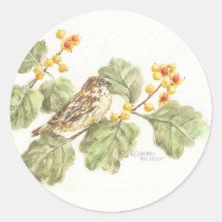 Pegatina Redonda Pájaro de la acuarela de los pegatinas en la rama