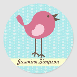 Pegatina Redonda Pájaro rosado de las etiquetas/de los pegatinas