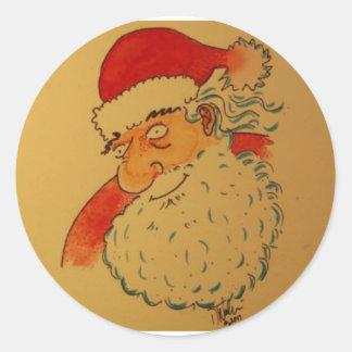 Pegatina Redonda Papá Noel