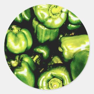 Pegatina Redonda Paprikas Verdes