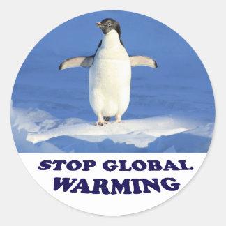Pegatina Redonda Pare el calentamiento del planeta multiplican