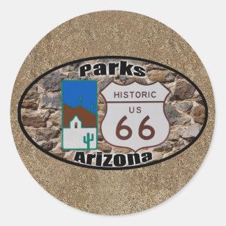 Pegatina Redonda Parques históricos Arizona de la ruta 66 de los