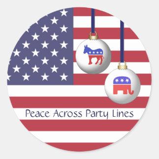 Pegatina Redonda Paz a través de días de fiesta de dos partidos de