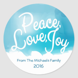 Pegatina Redonda Paz, amor, alegría, día de fiesta moderno