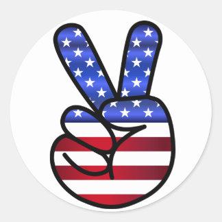 Pegatina Redonda Paz de la bandera de los E.E.U.U.