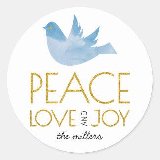 Pegatina Redonda Paz del oro, amor, navidad de la paloma del azul