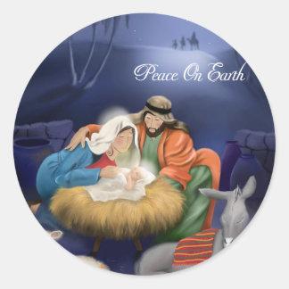 Pegatina Redonda Paz en los pegatinas del navidad de la tierra