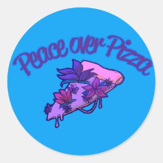Pegatina Redonda Paz sobre la pizza