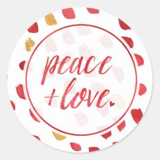 Pegatina Redonda Paz y amor por el día de fiesta verde oliva