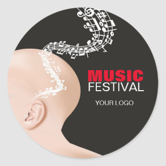Pegatina Redonda Pegamento para el festival de música