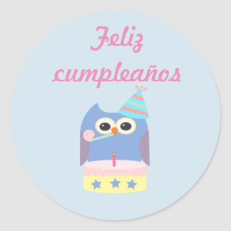"Pegatina Redonda ""Pegatina del búho del ""feliz cumpleaños"" de los"