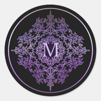Pegatina Redonda Pegatinas afiligranados púrpuras del adorno del