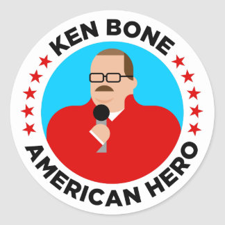 Pegatina Redonda Pegatinas americanos del héroe del hueso de Ken