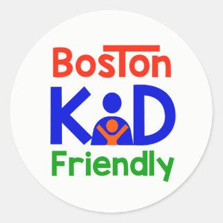Pegatina Redonda Pegatinas amistosos del niño de Boston