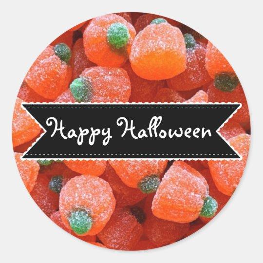 Pegatina Redonda Pegatinas anaranjados del caramelo de la calabaza