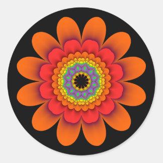 Pegatina Redonda Pegatinas anaranjados del flower power del fractal