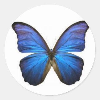 Pegatina Redonda Pegatinas azules de la mariposa
