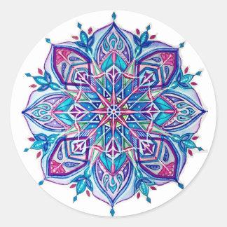 Pegatina Redonda Pegatinas azules del copo de nieve---Diseño de la