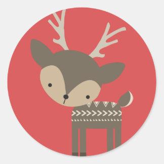 Pegatina Redonda Pegatinas brillantes redondos del reno del navidad