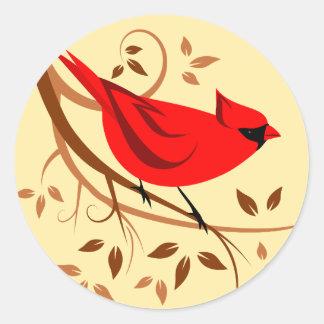 Pegatina Redonda Pegatinas cardinales rojos