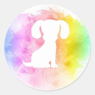 Pegatina Redonda Pegatinas coloridos del perro