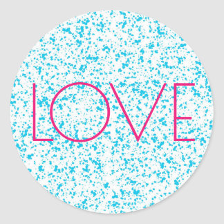 Pegatina Redonda Pegatinas dálmatas azules de la impresión del amor