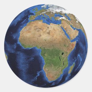 Pegatina Redonda Pegatinas de África del globo de la tierra