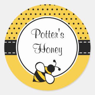 Pegatina Redonda Pegatinas de encargo de la abeja