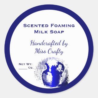 Pegatina Redonda Pegatinas de encargo del jabón del jarro blanco