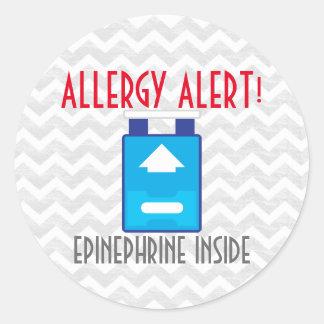 Pegatina Redonda Pegatinas de la alarma de la alergia de la