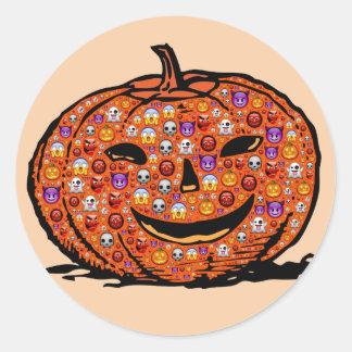 Pegatina Redonda Pegatinas de la calabaza de Emoji