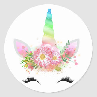 Pegatina Redonda Pegatinas de la cara del unicornio del arco iris